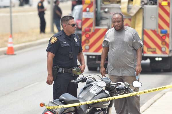 A motorcyclist was shot Monday, June 26, 2017, on an access road to Loop 410 on the Northeast Side.