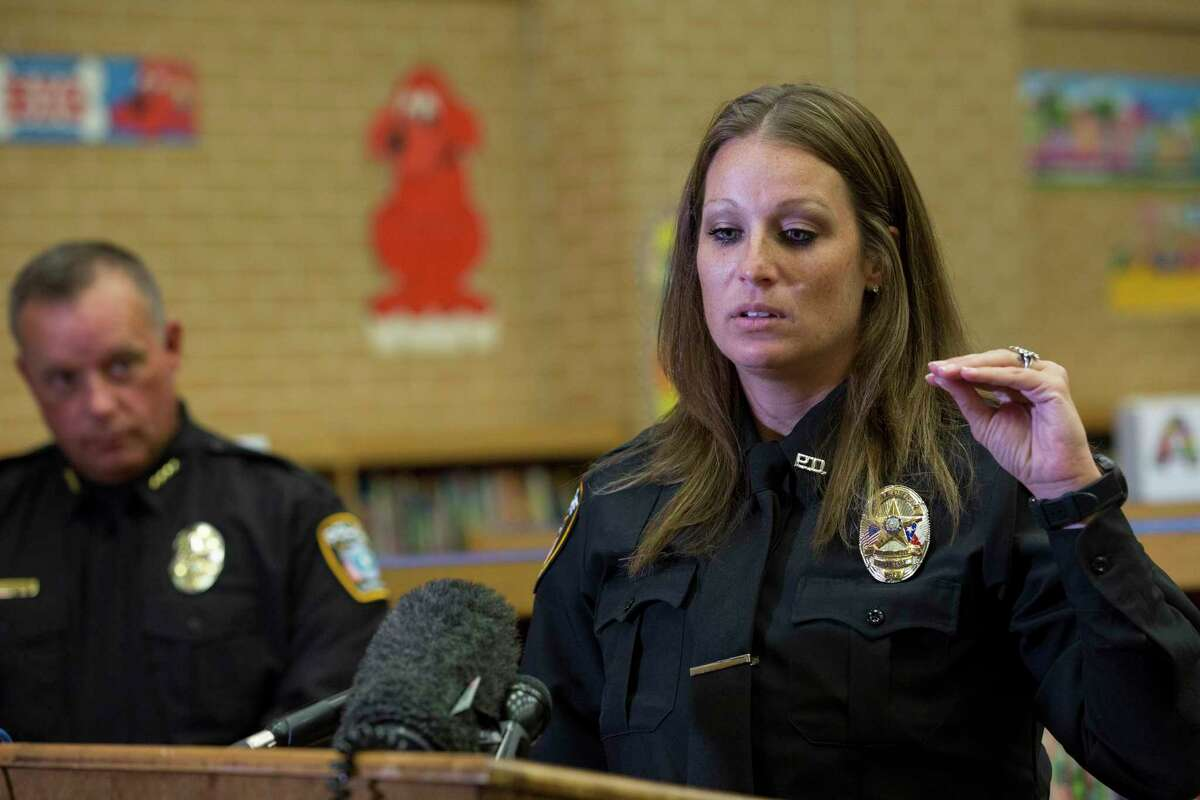 During a press conference inside Southside Primary School Monday, June 26, 2017, in Cleveland, Texas, Cleveland ISD Police Officer Pamela Minchew talks about restraining a female passenger who attempted to open an emergency door in flight. Minchew was off-duty when the incident happen on Southwest Airlines flight 4519, which was returning to Houston Sunday. Due to the incident, the flight had to make an emergency landing in Corpus Christi. ( Godofredo A. Vasquez / Houston Chronicle )