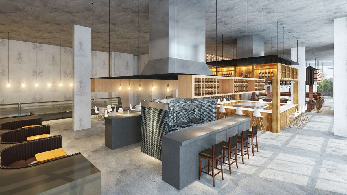 A rendering of Bravery Chef Hall shows a new dining hall concept with five distinct stations.