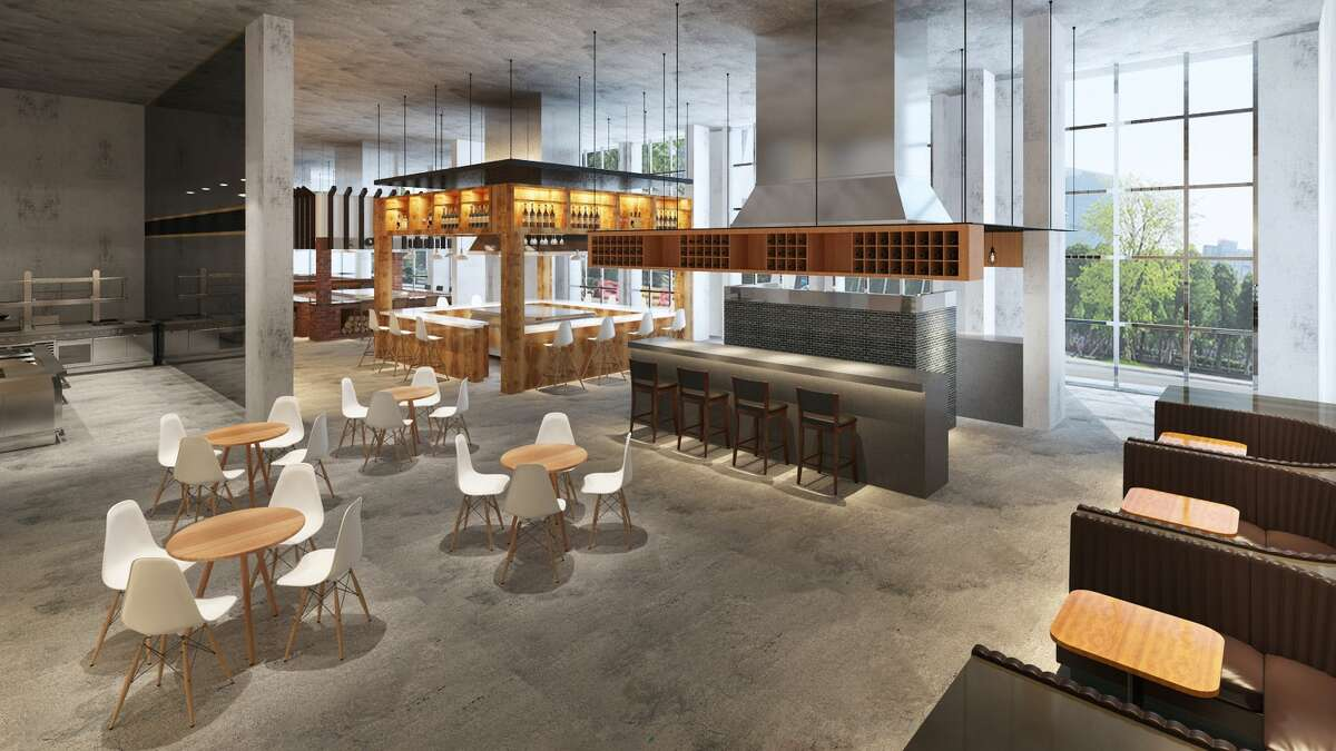 Renderings of Bravery Chef Hall, a new dining hall concept with five distinct chef-led stations being proposed for a 9,000-square-foot space on the ground floor of the Aris Market Square apartment tower under construction at 409 Travis.