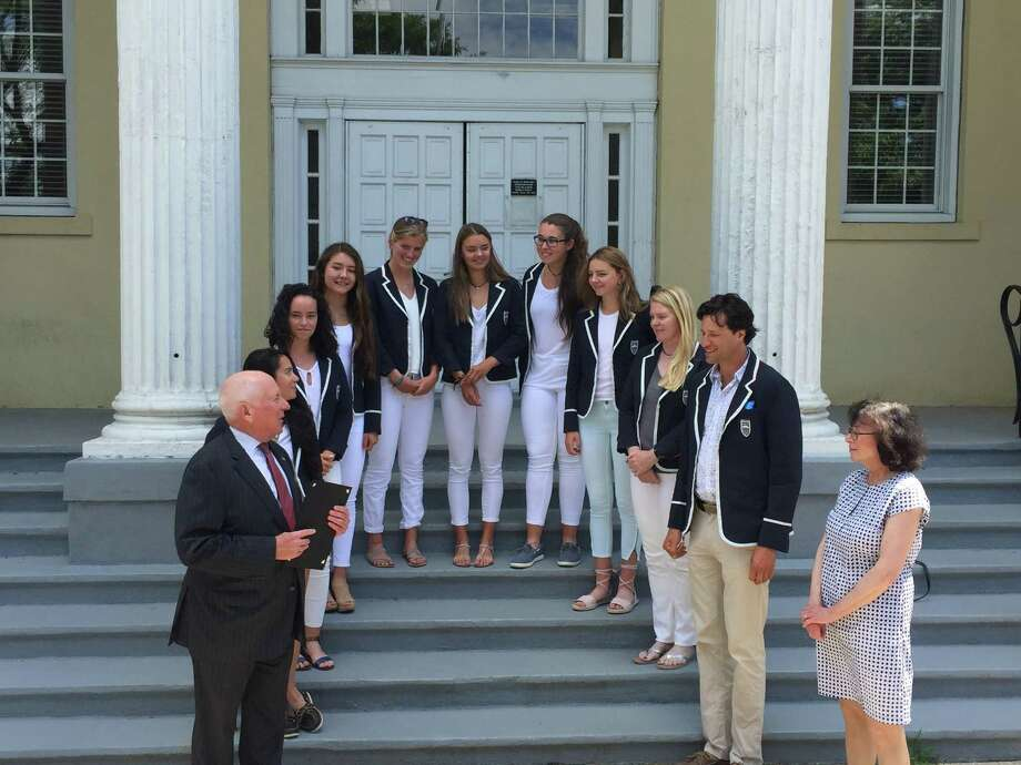 Westport First Selectman Jim Marpe recognizes the members of the Saugatuck Rowing Club's women's youth 8+ team after winning their third straight U.S. Rowing Youth National Championship. Photo: Aaron Johnson / Hearst Connecticut Media
