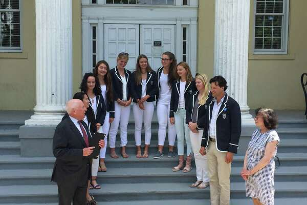Westport First Selectman Jim Marpe recognizes the members of the Saugatuck Rowing Club's women's youth 8+ team after winning their third straight U.S. Rowing Youth National Championship.
