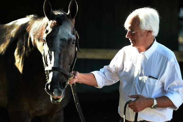 Trainer Bob Baffert has a quiet moment with Travers Stakes winner Arrogate Sunday morning in the barn area at the Saratoga Race Course August 28, 2016 in Saratoga Springs, N.Y.    (Skip Dickstein/Times Union)
