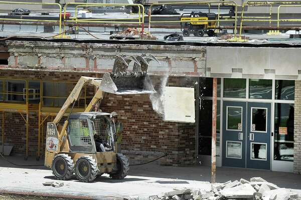 The front entrance to Danbury High School is being replaced as part of the $50 million addition at Danbury High School Monday, June 26, 2017.