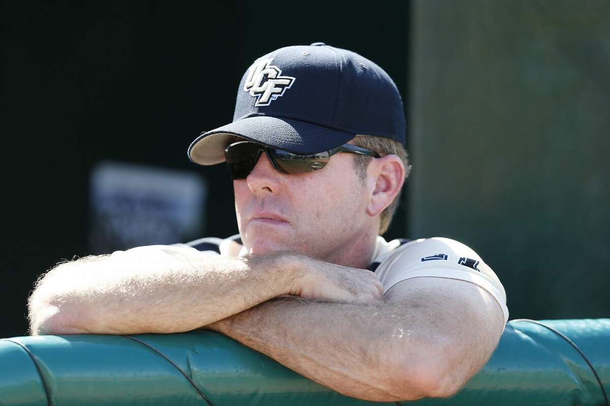 CORAL GABLES, FL - APRIL 15: Head coach Terry Rooney #26 of the Central Florida Fighting Knights watches as the Miami Hurricanes take batting practice on April 15, 2015 at Alex Rodriguez Park at Mark Light Field in Coral Gables, Florida. Miami defeated Central Florida 4-2. (Photo by Joel Auerbach/Getty Images)