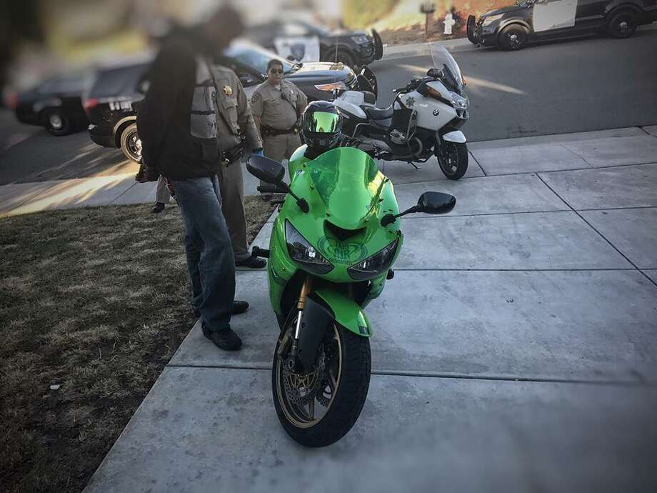 The owner of this lime-green Kawasaki motorcycle was arrested for reckless driving and the bike was impounded, according to the California Highway Patrol. Photo: California Highway Patrol
