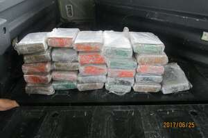 Border Patrol agents arrested a pickup driver at the Falfurrias checkpoint Sunday afternoon after they found 65 pounds of cocaine stashed in a truck, according to U.S. Customs and Border Protection.