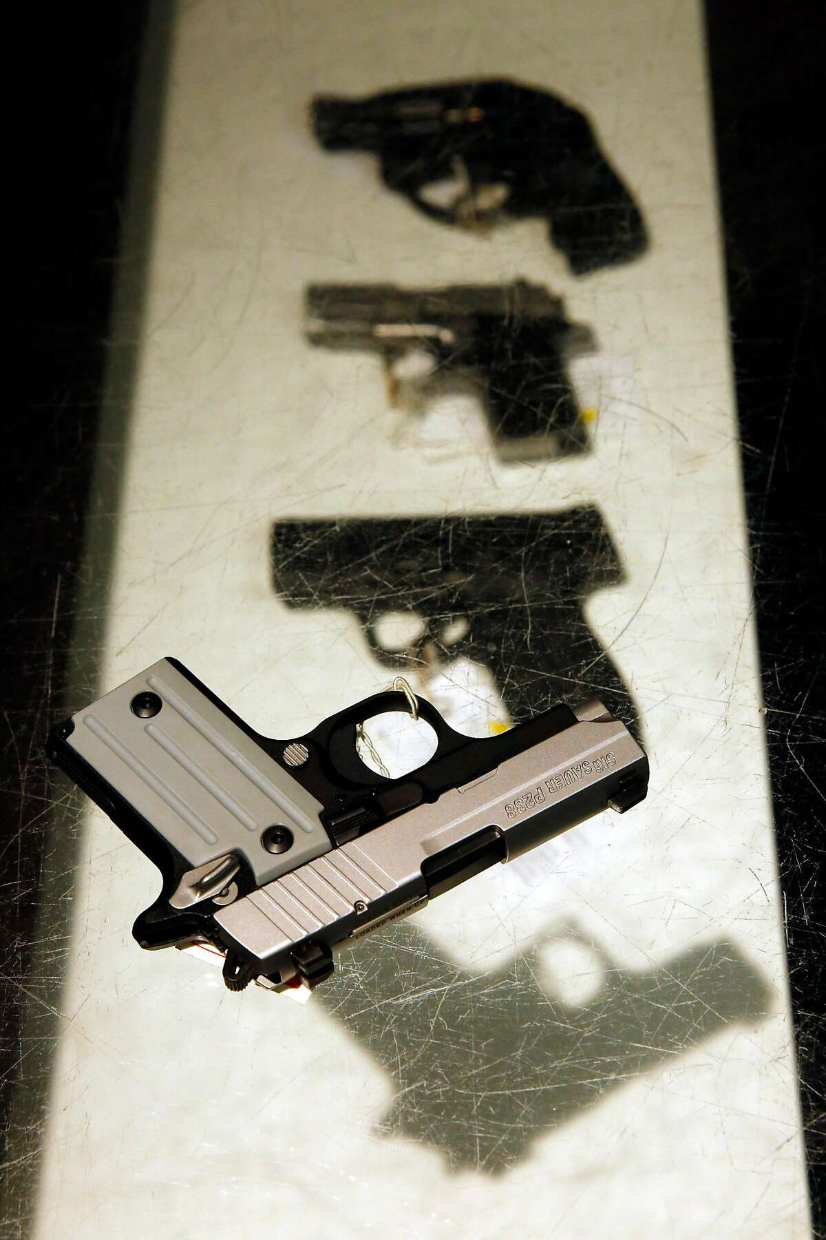 A small handgun is displayed at a gun shop on Monday June 26, 2017. The U.S. Supreme Court rejected a challenge by gun groups Monday to California's concealed-weapons law, which requires gun owners to get a license from law enforcement to carry a concealed handgun outside the home.