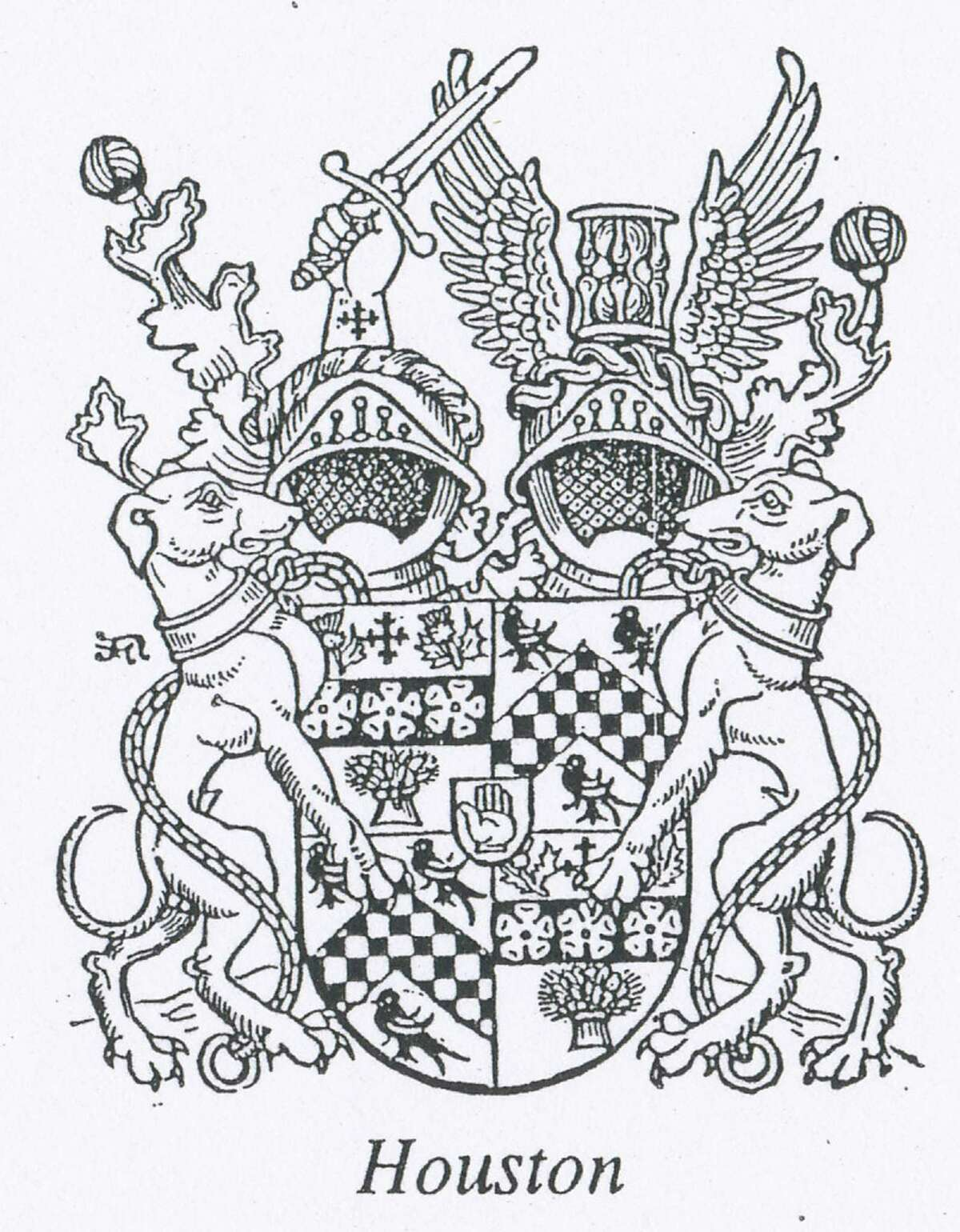 The coat of arms for the Houston family when they were of nobility in Scotland.