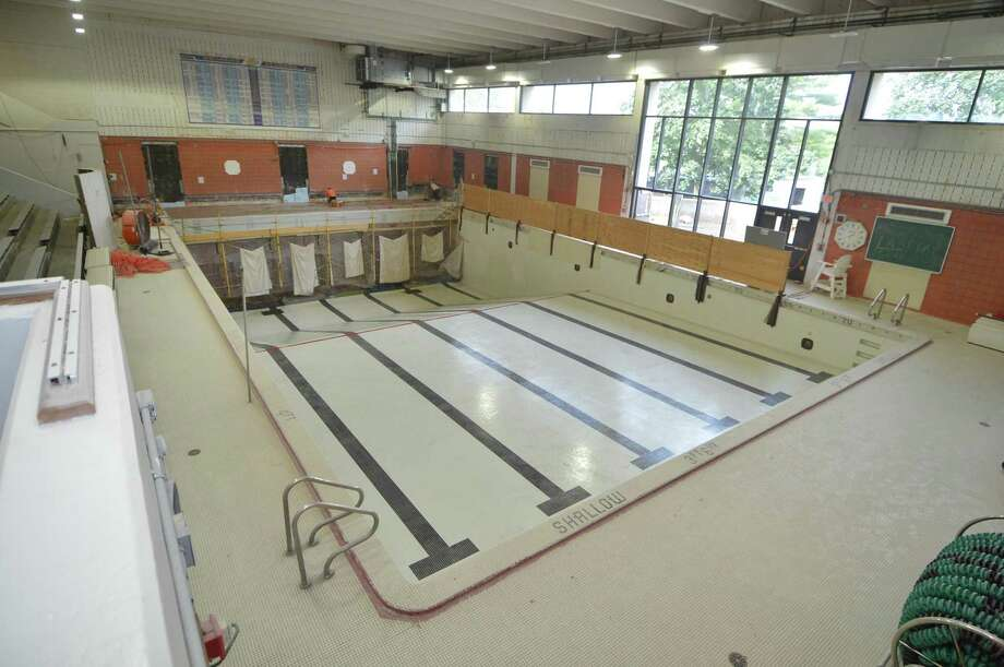 The Norwalk High swimming pool under construction in August 2016 . Photo: Alex Von Kleydorff / Hearst Connecticut Media / Connecticut Post