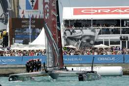 Emirates Team New Zealand celebrates after defeating Oracle Team USA to win the America's Cup sailing competition Monday, June 26, 2017, in Hamilton, Bermuda. (AP Photo/Gregory Bull)