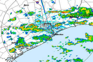 This radar image from the National Weather Service shows a storm system moving across the Houston area Monday afternoon, June 26, 2017.