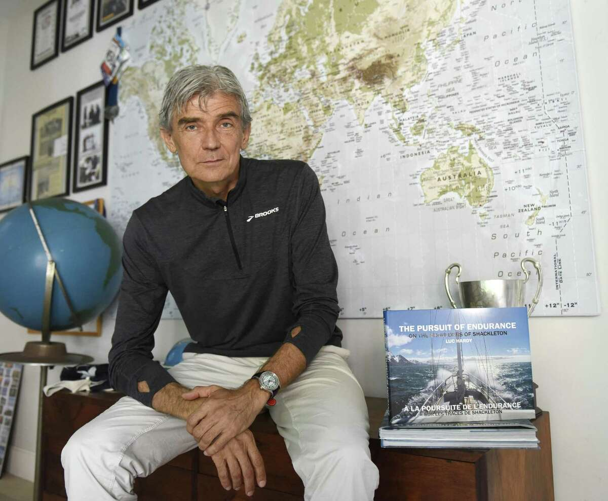 Scientist and explorer Luc Hardy poses in his home in the Cos Cob section of Greenwich, Conn. Monday, June 26, 2017. Hardy has been captained many climate change-themed scientific excursions and plans to go to Cuba and Russia later this year.