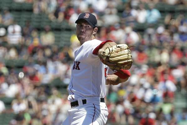 Boston Red Sox's Doug Fister delivers a pitch in the first inning of a baseball game against the Los Angeles Angels, Sunday, June 25, 2017, in Boston. (AP Photo/Steven Senne)