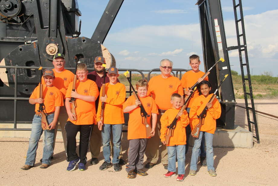 Permian Basin Young Guns team members include, left to right, front row: Cash Willhite, Tyler Bales, Simon Bowers, Lucas Bland, William Cralle and LeeAnna Crudgington. Back row (left to right): Coach Kevin Willhite, Coach Mark Cralle, Coach Mike Cralle and Cinco Yeary. Courtesy photo