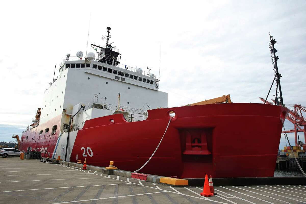 The USCGC Healy, the United States military's largest and most technologically advanced icebreaker, is docked at the US Coast Guard station in Seattle. The Healy is a research vessel that carries scientists and research teams into the Arctic circle. The ship leaves Seattle Tuesday, for a five-month long deployment. Photographed June 19, 2016.