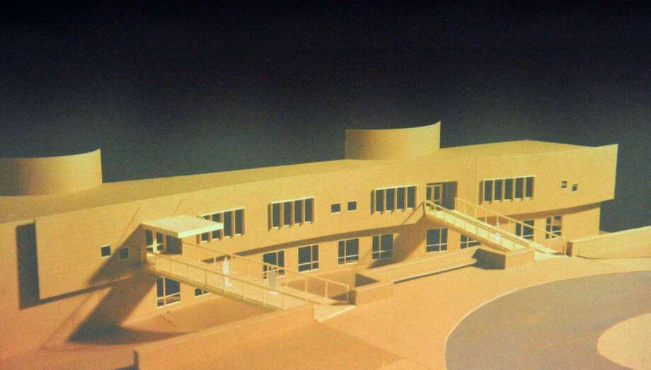 A slide of the model of the new New Lebanon School was shown during a presentation. Photo: Bob Luckey Jr. / Hearst Connecticut Media / Greenwich Time