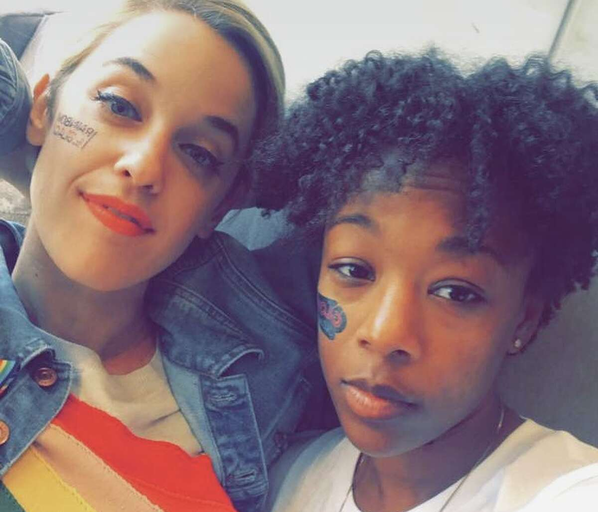 """Stars from Netflix shows """"Orange is the New Black"""" and """"13 Reasons Why"""" attended San Francisco Pride on Sunday, June 25. Pictured is Samira Wiley on right (Poussey on """"Orange is the New Black"""") with her wife and """"Orange is the New Black"""" writer Lauren Morelli."""