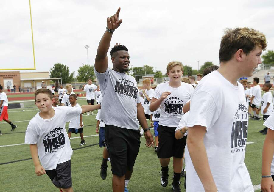 Former Steele High School, University of Texas football star Malcolm Brown who now plays for the Los Angeles Rams holds his first ever youth football camp at Steele High School on Saturday, June 24, 2017. (Kin Man Hui/San Antonio Express-News) Photo: Kin Man Hui, Staff / San Antonio Express-News / ©2017 San Antonio Express-News
