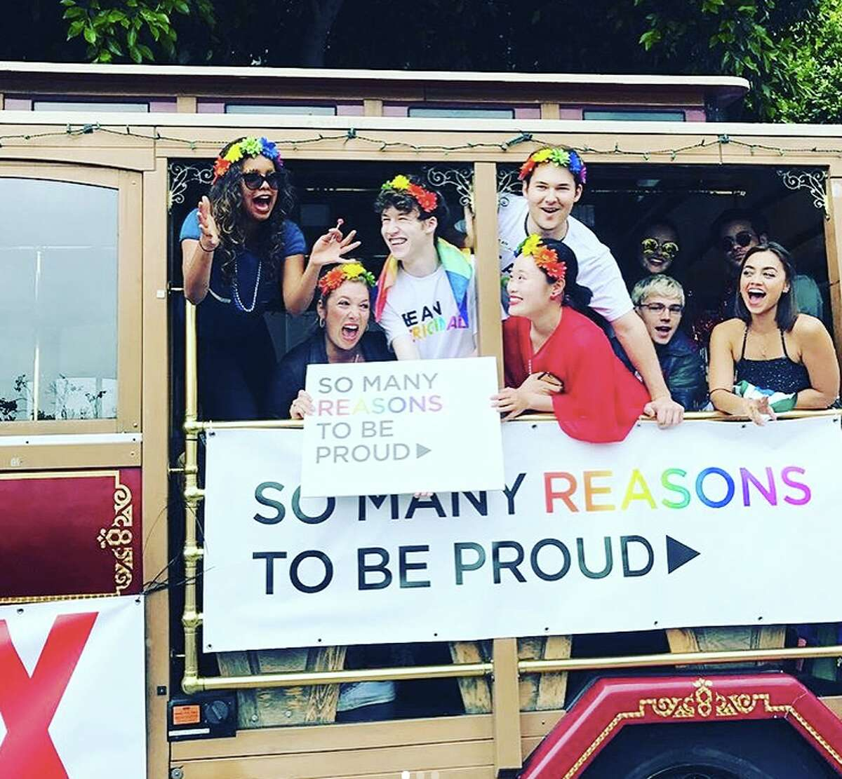 """Stars from Netflix shows """"Orange is the New Black"""" and """"13 Reasons Why"""" attended San Francisco Pride on Sunday, June 25. Pictured is the cast of """"13 Reasons Why."""""""