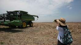 The visitors got the opportunity to ride the harvester machine while witnessing the sorghum being harvested during a tour the past summer for Chinese buyers of of U.S. sorghum. Huang Rui, quickly spans a pictures of her colleagues and friends as they board the harvester. China is the largest importer of Texas sorghum, so the announcement of a 179 percent deposit against possible anti-dumping duties hits hard.
