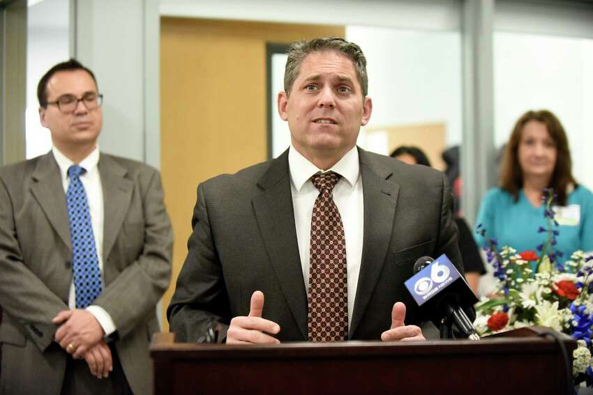 Schenectady School District Superintendent Larry Spring, center, announces their partnership with Hometown Health Centers the during a news conference on Wednesday, Nov 30, 2016, at Schenectady High in Schenectady, N.Y. (Cindy Schultz / Times Union)