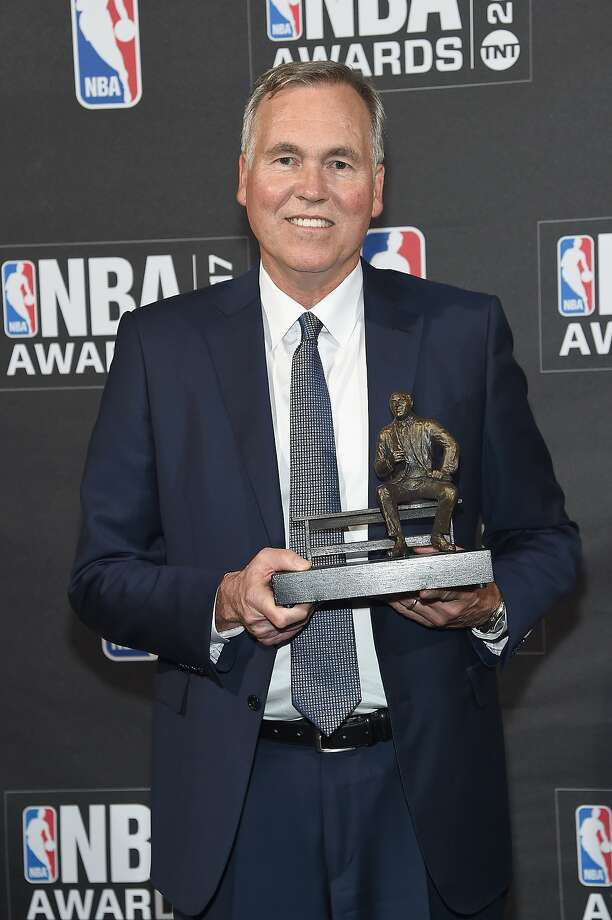 NEW YORK, NY - JUNE 26:  Coach Mike D'Antoni poses with the NBA Coach of the Year award at the 2017 NBA Awards live on TNT on June 26, 2017 in New York, New York. 27111_003  (Photo by Jamie McCarthy/Getty Images for TNT) Photo: Jamie McCarthy, Getty Images For TNT