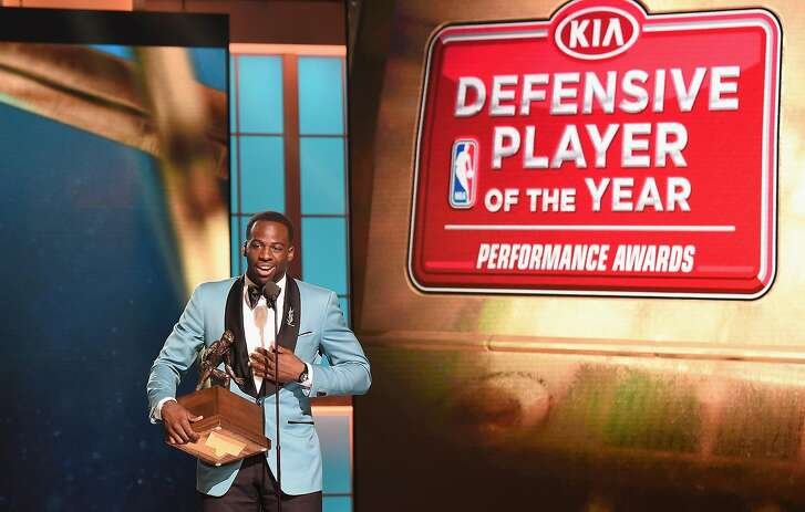 NEW YORK, NY - JUNE 26:  2016-17 Defensive Player of The Year, Draymond Green speaks on stage during the 2017 NBA Awards Live On TNT on June 26, 2017 in New York City. 27111_001  (Photo by Michael Loccisano/Getty Images for TNT )