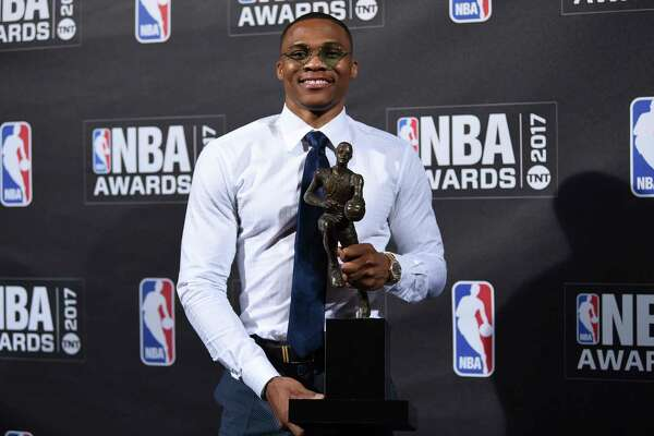 Kia NBA Most Valuable Player, Best Style & Game Winner Award winner, Russell Westbrook, poses in the press room at the 2017 NBA Awards at Basketball City at Pier 36 on Monday, June 26, 2017, in New York. (Photo by Evan Agostini/Invision/AP) ORG XMIT: NYEA213