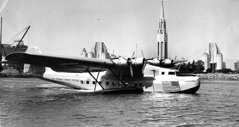 The Philippine Clipper plane at the Port of the Trade Winds at Treasure Island on Aug. 31, 1938. The passenger planes flew out of San Francisco starting in 1935. Photo: Chronicle File, San Francisco Chronicle