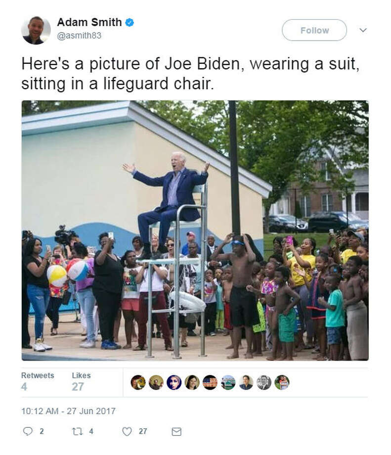 Social media users saw Joe Biden in a lifeguard chair and went gaga. Photo: Twitter