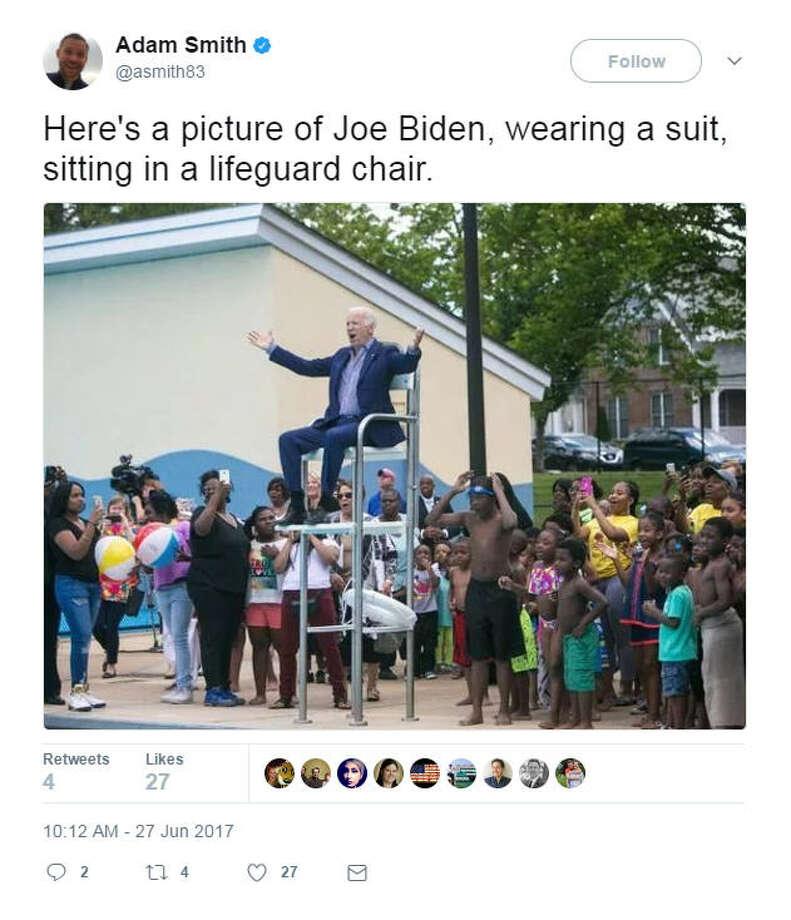 Social media users saw Joe Biden in a lifeguard chair and went gaga. Photo: Twitter