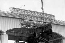 Mianus River Bridge Collapse - Temporary bridge being put in place. July 13, 1983.