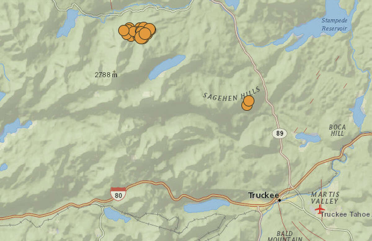 At least 28 small earthquakes struck near Truckee on Tuesday morning. The largest was a magnitude 3.9.