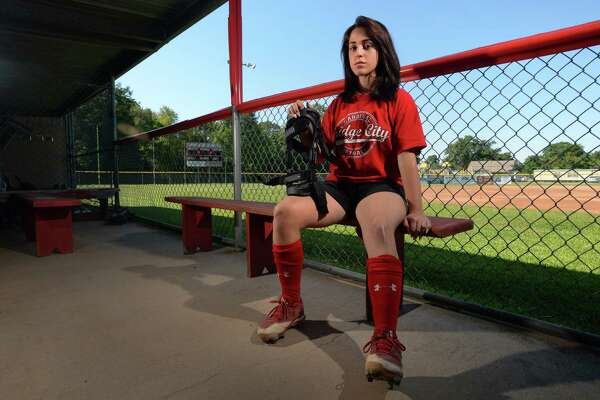 After tearing her ACL and breaking her tibia, Maggie Garcia underwent surgery and now has to wear a knee brace while playing softball.  Photo taken Thursday, June 08, 017 Guiseppe Barranco/The Enterprise