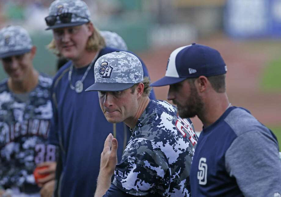 Missions pitcher Chad Nading imitates the swing of a Midland batter on June 7, 2017. Photo: Ron Cortes /For The Express-News