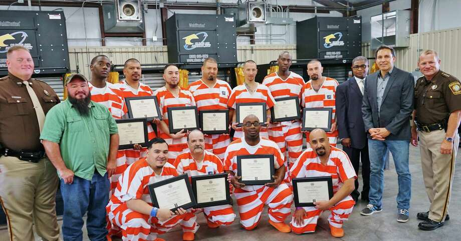 Inmates in the first class of the Fort Bend County Sheriff's Office Welding program received two certificates of completion during ceremonies held Monday, June 19, 2017. Shown with the inmates are, left, Deputy Harold Houston; Victor Manrriquez, welding Instructor; Richard Erivo, Inmate Vocational Administrator and Coordinator; Art Rascon, Guest speaker; and Sheriff Troy E. Nehls. Photo: Fort Bend County Sheriff's Office