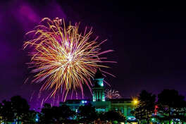 Fireworks will conclude the Fourth of July celebration at LaCenterra at Cinco Ranch about :9:15 p.m. The display is b: Pyro Shows of Texas.