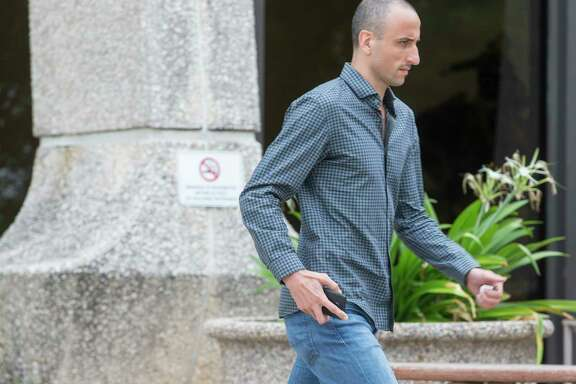 Spurs player Manu Ginobili leaves the federal courthouse in San Antonio Tuesday, June 27, 2017 after attending a hearing in Tim Duncan's legal case against Duncan's former financial adviser Charles Banks. Duncan alleges he lost more than $20 million to Banks in a series of investments from 2005 to 2013.