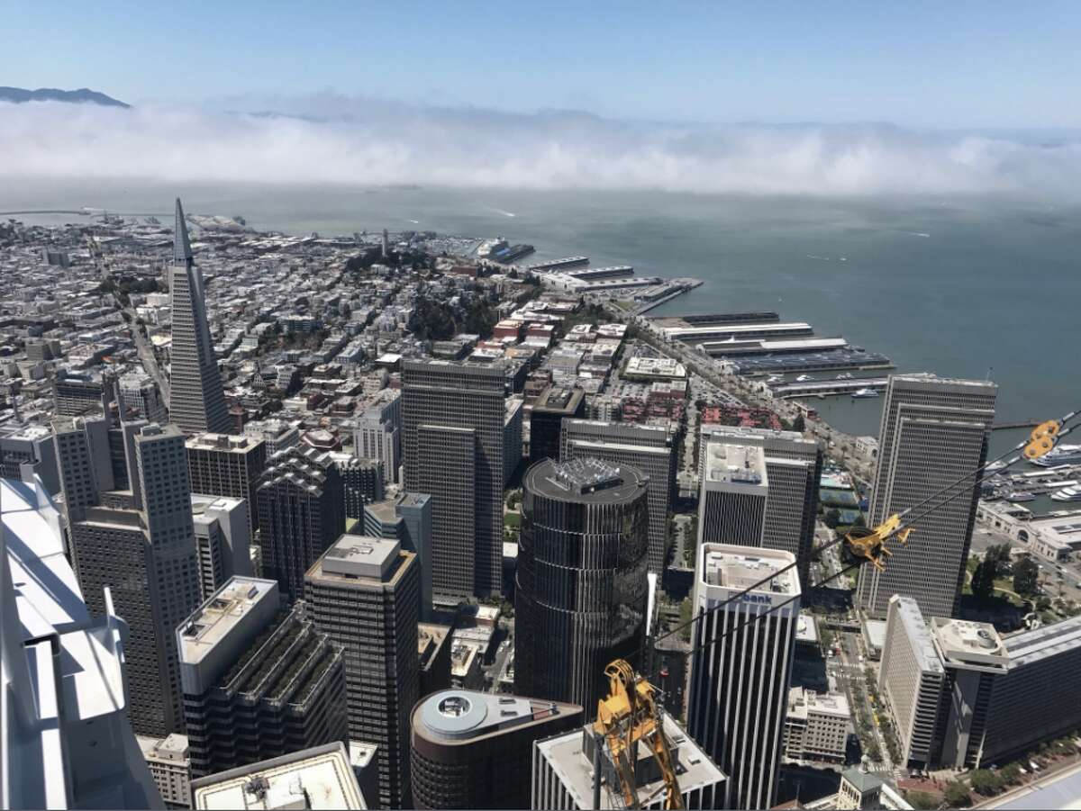 SALESFORCE TOWER From the top, much of the city's skyline appears relatively small, including the Transamerica Pyramid, which used to be SF's tallest building.