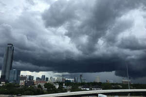 On Tuesday, June 27, 2017, the Houston area has some quite ominous-looking clouds moving through the area. A chance of scattered thunderstorms and showers is predicted for the day.