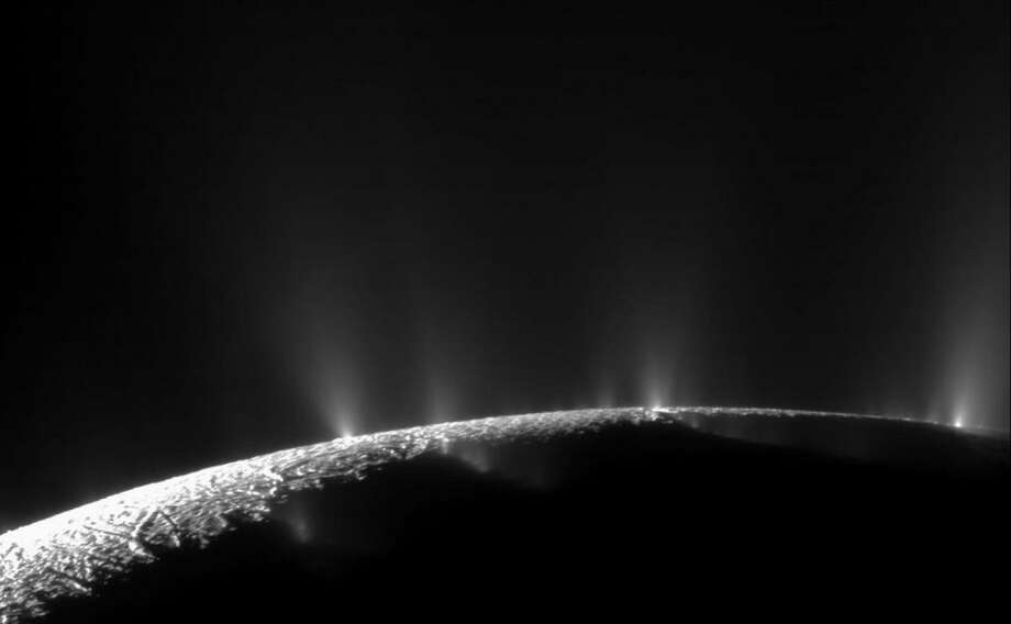 A dramatic plume sprays water ice and vapor from the south polar region of Saturn's moon Enceladus. The spacecraft Cassini's first hint of this plume came during its first close flyby on Feb. 17, 2005. Photo: Courtesy NASA /JPL /Space Science Institute / Courtesy