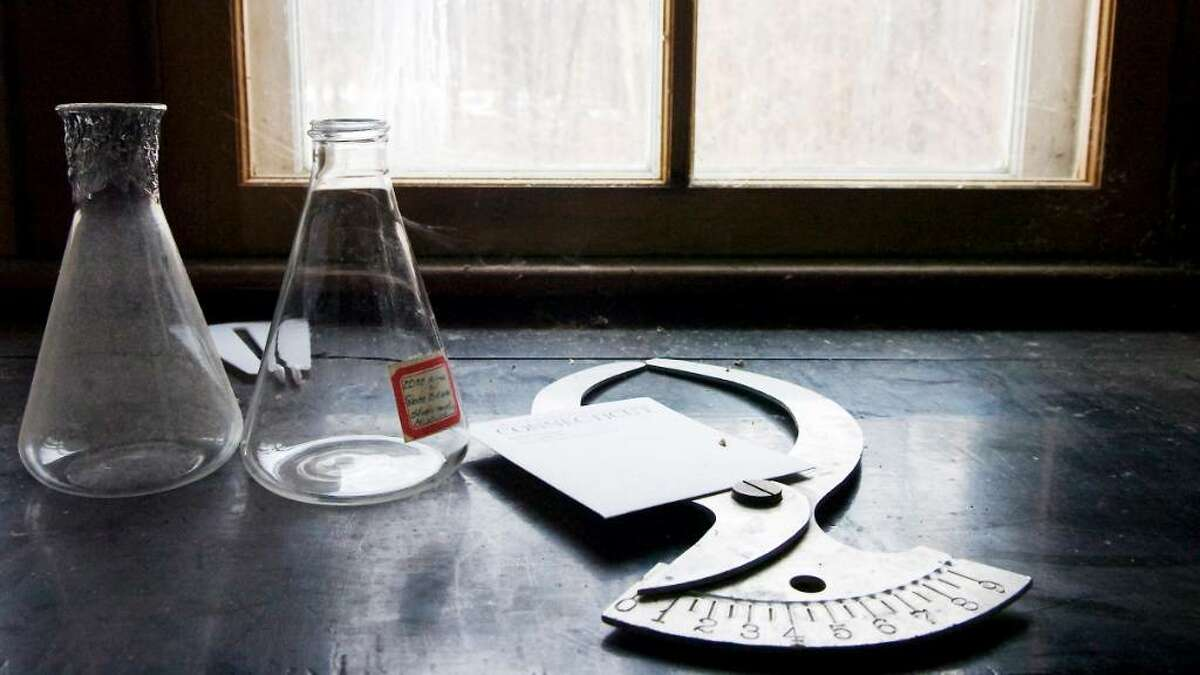 A variety of lab tools sit on a windowsill in Francis Bartlett's original laboratory at the Bartlett Arboretum and Gardens in Stamford Wednesday.