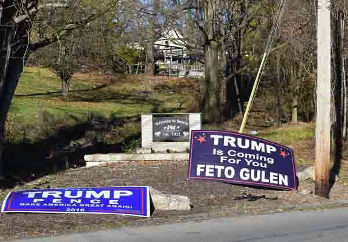 Election banners at the entrance to his compound in the Poconos in Saylorsburg, Pa., on Nov. 13, 2016.