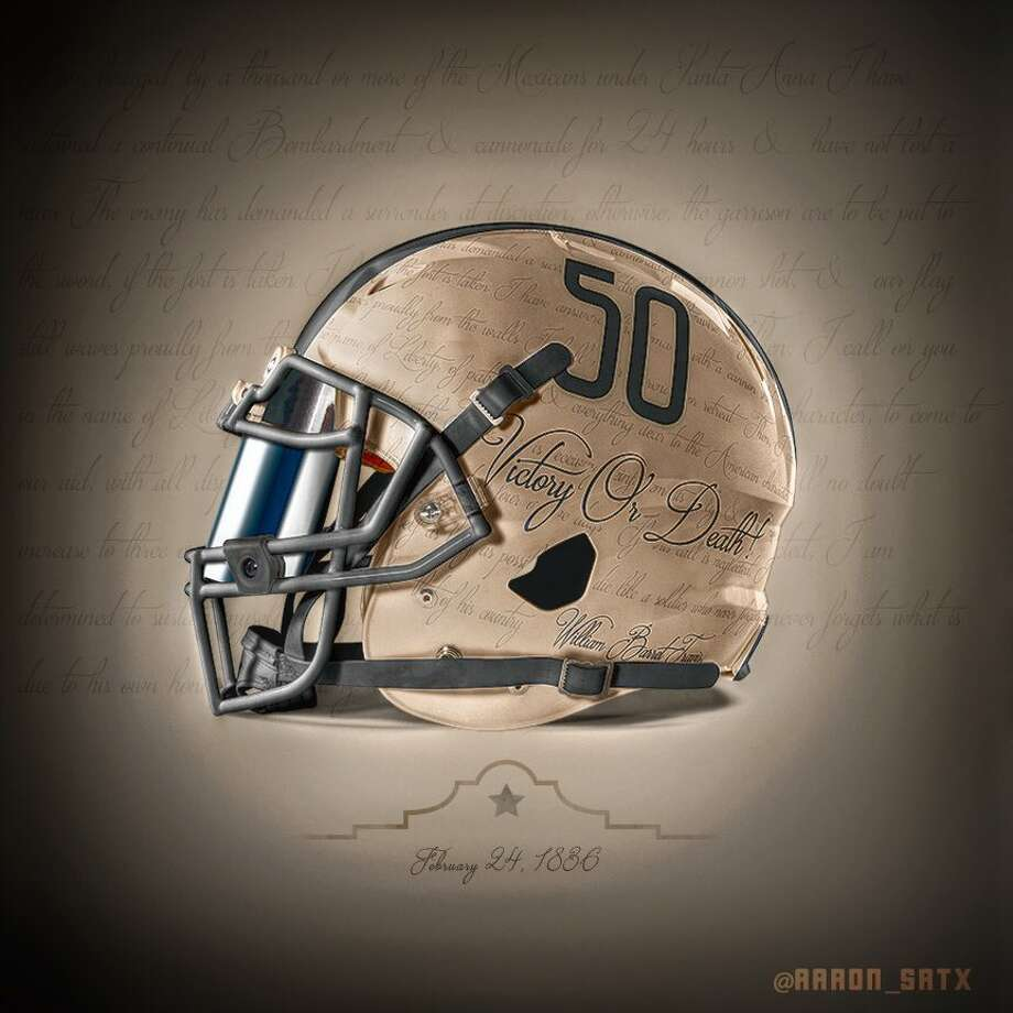 Aaron Livingston, a UTSA alumni, evoked the passion of Travis' 1836 letter that rallied defenders to the Alamo in a design he hopes will amp up fans of the school's football team. He recently created a Battle of the Alamo-inspired helmet idea which features a portion of Travis' historic missive. Photo: Courtesy, Aaron Livingston/@Aaron_satx