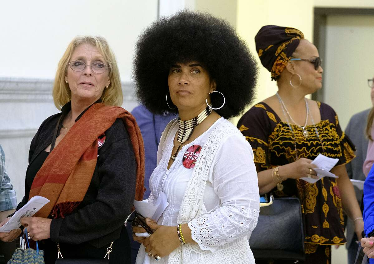 Some of Bill Cosby's accusers wait to enter the courtroom at the Montgomery County Courthouse during Bill Cosby's sexual assault case in Norristown, Pa., Saturday, June 17, 2017. Cosby's trial ended without a verdict after jurors failed to reach a unanimous decision. (Ed Hille/The Philadelphia Inquirer via AP, Pool)