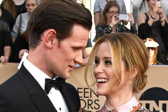 "Claire Foy (right, pictured here with on-screen consort Matt Smith at the 23rd Annual Screen Actors Guild Awards in Los Angeles) is going from cleaning up on the awards circuit for her work as Queen Elizabeth II in Netflix's ""The Crown"" to either playing the female lead in ""First Man"" (with Ryan Gosling and Damien Chazelle), becoming the new Elizabeth Salander in ""The Girl in the Spider's Web,"" or both. Photo credit: Frazer Harrison/Getty Images."