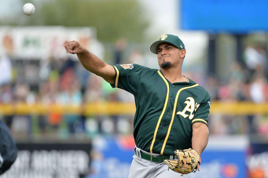 PEORIA, AZ - MARCH 05:  Franklin Barreto #1 of the Oakland Athletics warms up for the spring training game against the Seattle Mariners at Peoria Stadium on March 5, 2017 in Peoria, Arizona.  (Photo by Jennifer Stewart/Getty Images) Photo: Jennifer Stewart, Getty Images