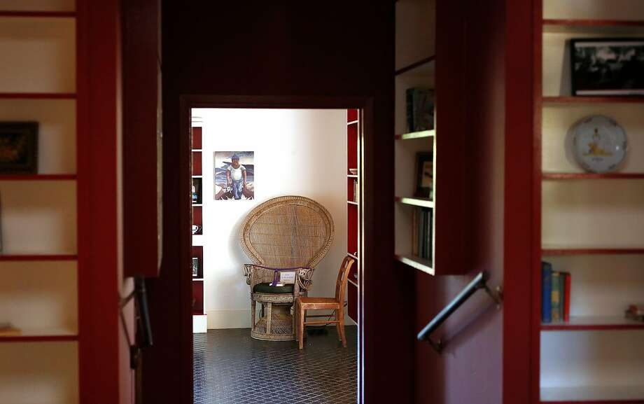 A rattan chair in the kitchen seen from the hallway in the home of M.F.K. Fisher. Photo: Liz Hafalia, The Chronicle