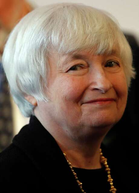 U.S. Fed Chair Janet Yellen smiles as she arrives for a discussion with Lord Nicholas Stern, President of the British Academy, at Carlton House Terrace of the Britsih Academy in London, Tuesday, June 27, 2017.(AP Photo/Frank Augstein) Photo: Frank Augstein, STF / Copyright 2017 The Associated Press. All rights reserved.